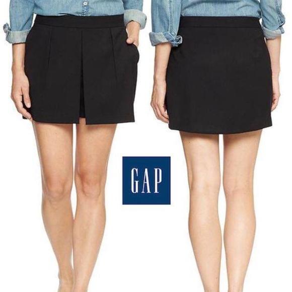 0d4c385e8 GAP Skirts | Womens Black Stretch Pleated Skort Skirt | Poshmark